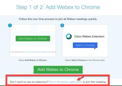 WebEx Run Temp App